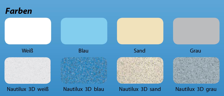 Bild der möglichen Farben von Polyesterpools